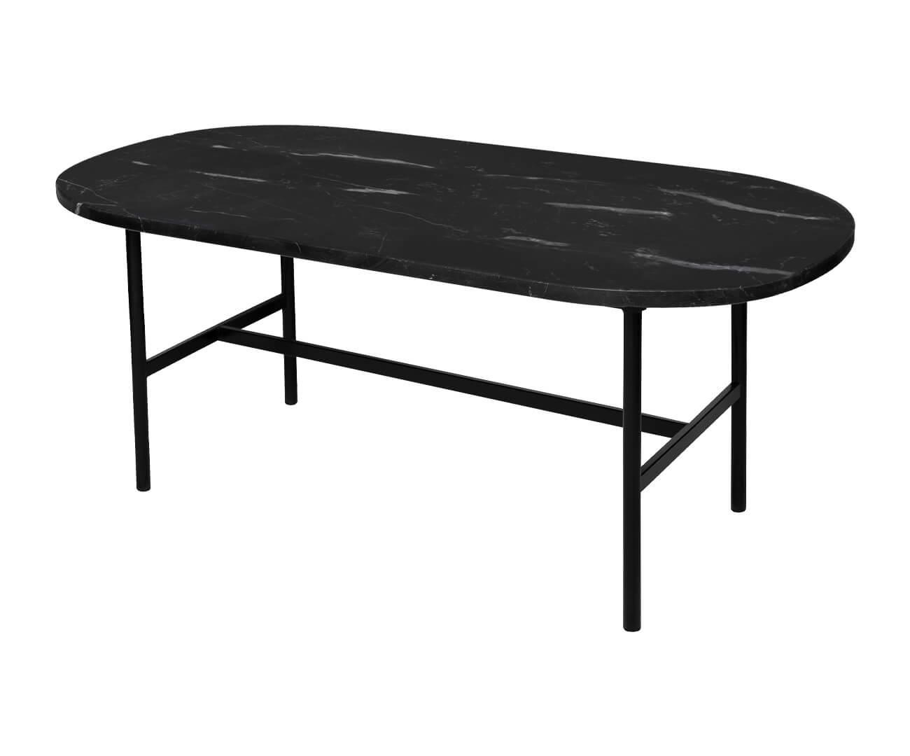 mesa de centro oval em granito via láctea drops 1352