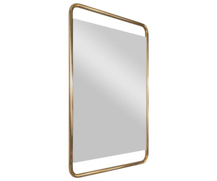 espelho retangular dourado em metal soho 1365
