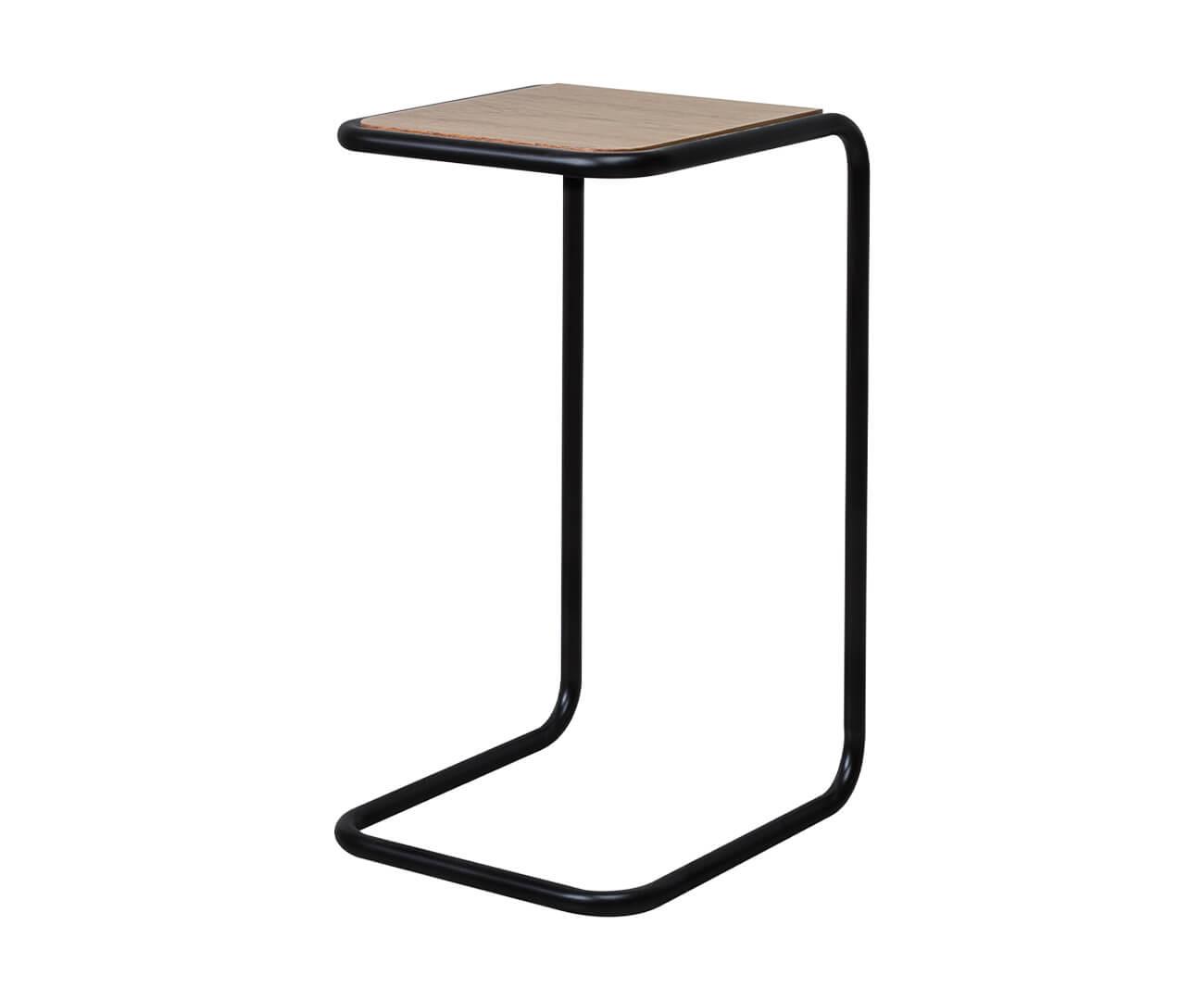mesa lateral em metal preto e madeira pecs 1373