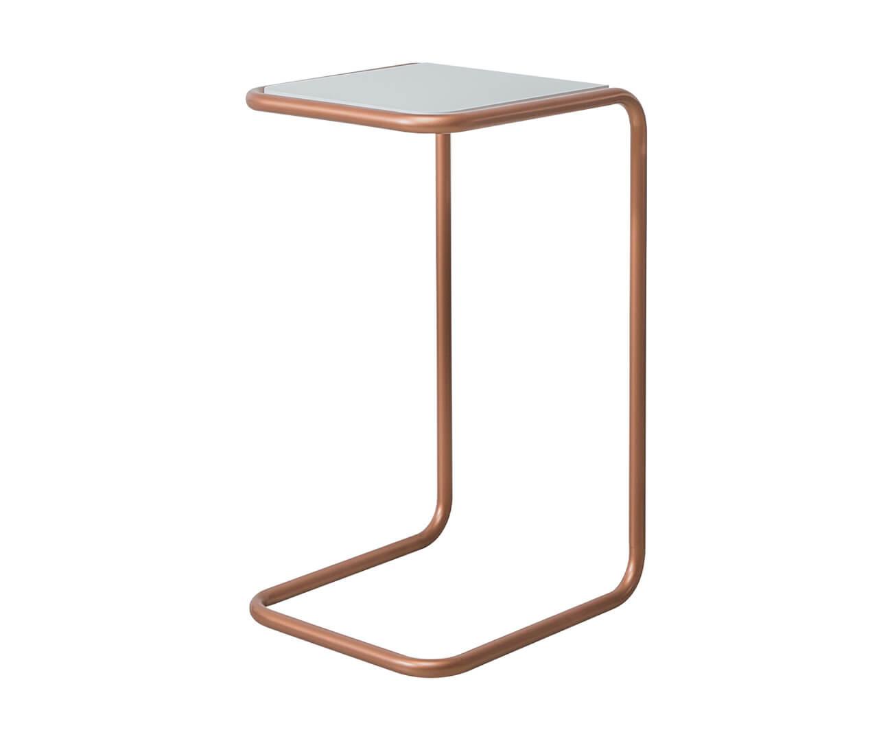 mesa lateral em metal cobre e madeira pecs 1374