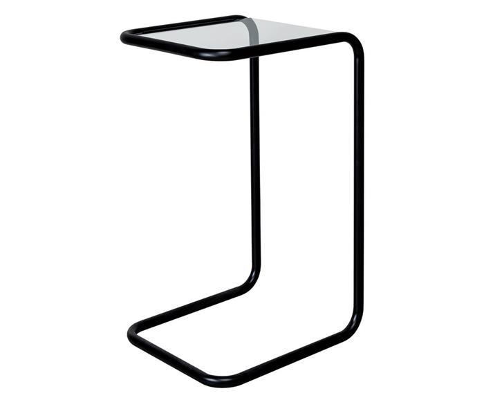 mesa lateral em metal preto e vidro pecs 1375