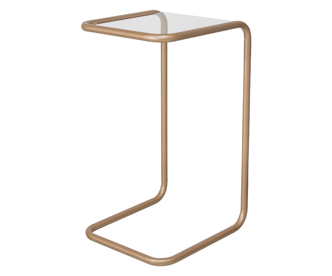 mesa lateral em metal dourado e vidro pecs 1376
