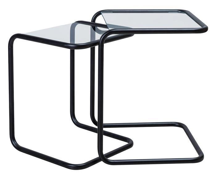 mesa ninho lateral em metal e vidro pecs 1378