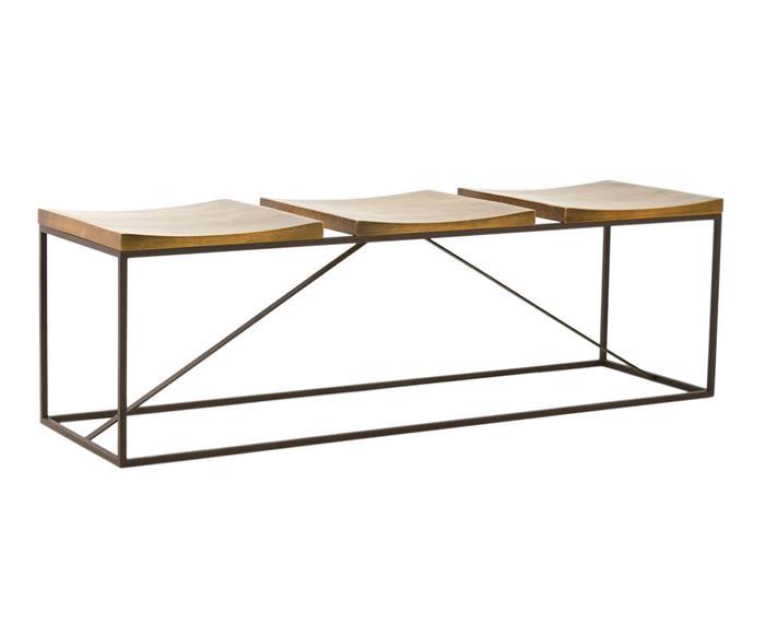 banco 3 lugares em metal e madeira mescla 1051