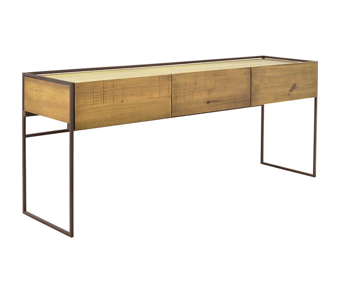aparador em metal e madeira maciça mescla 1045