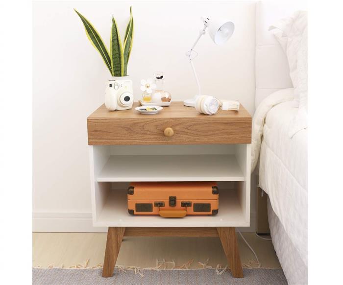 mesa de cabeceira branca e madeira trend 0937 mesa de cabeceira branca e madeira v