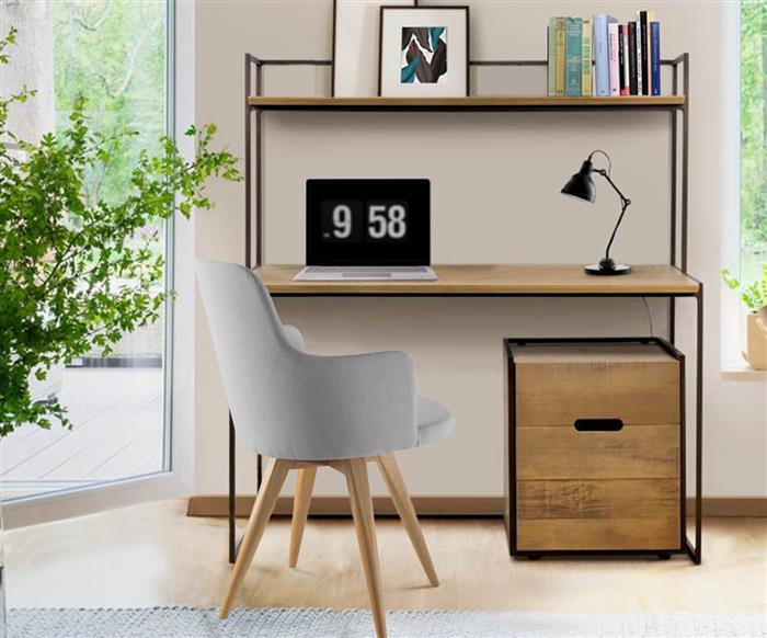 escrivaninha com prateleira metal e madeira maciça mescla 1274 escrivaninha com prateleira metal e madeira maciça mescla