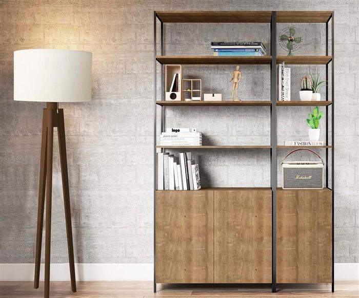 estante com porta camden pequena 0928 estante com 1 porta em metal e madeira vira