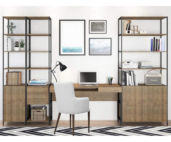 estante com porta camden pequena 0928 home office metal e madeira