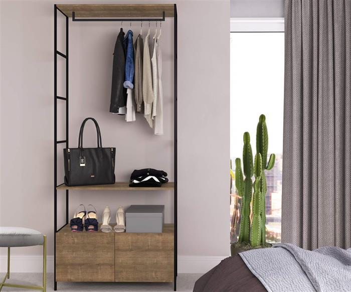 arara com gavetas camden 1105 arara para quarto com sapateiro em metal e madeira vira