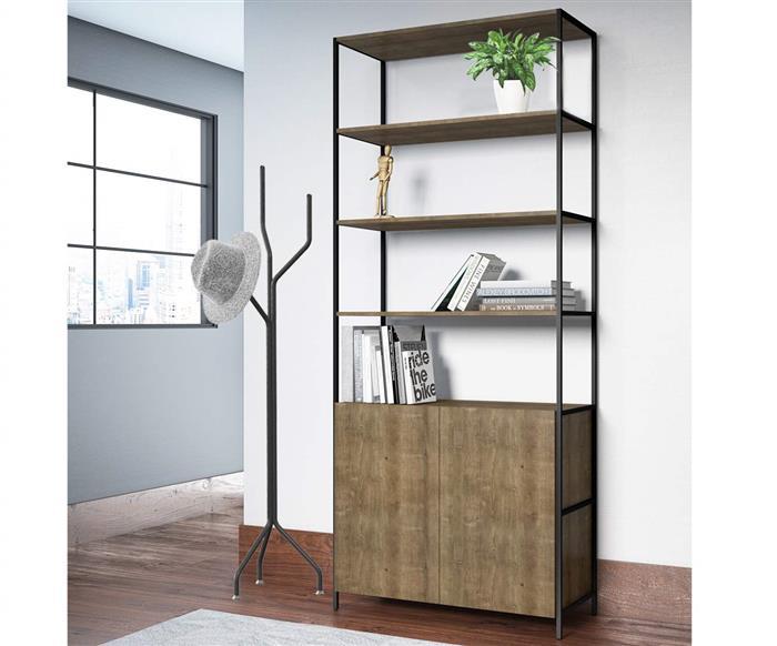 estante com porta camden grande 0927  estante com 2 portas em metal e madeira1