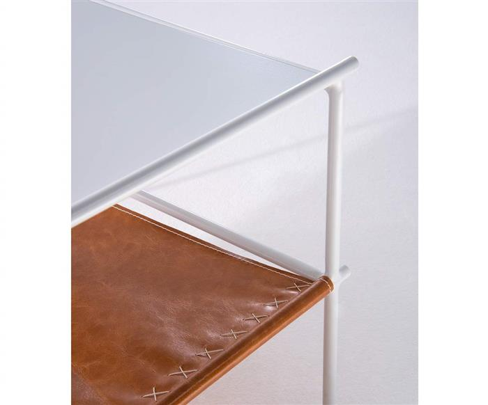 mesa de centro em metal e couro el paso 1226 mesa de centro em metal e couro el paso