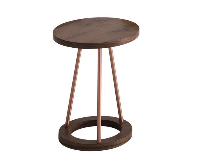 mesa lateral em cobre e madeira amalfi 0818 mesa lateral em cobre e madeira amalfi