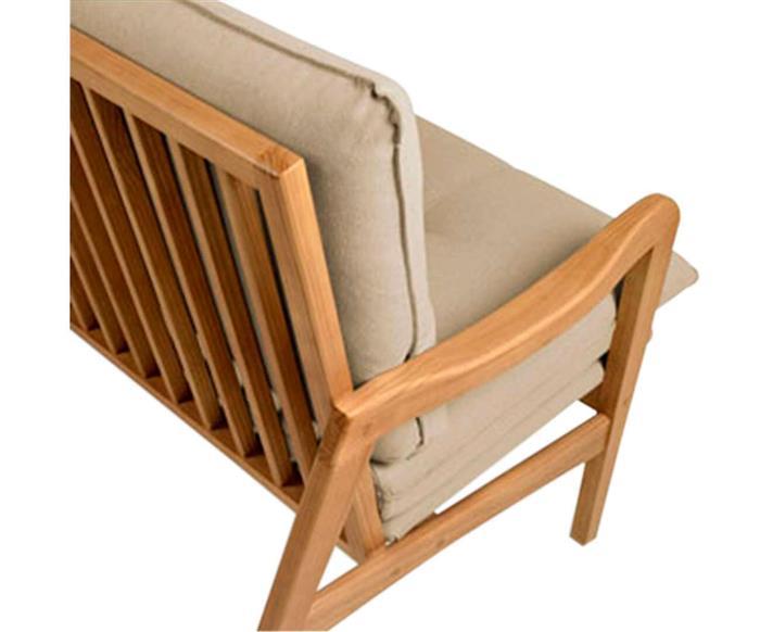 sofá em madeira maciça escandinávia 1058 sofá em madeira maciça e linho bege cru