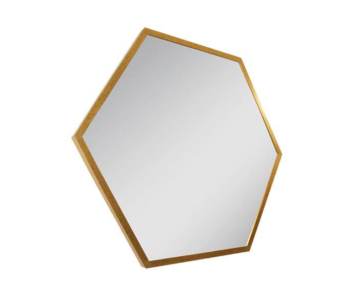 espelho hexagonal dourado 80cm 0949 espelho hexagonal dourado 80cm