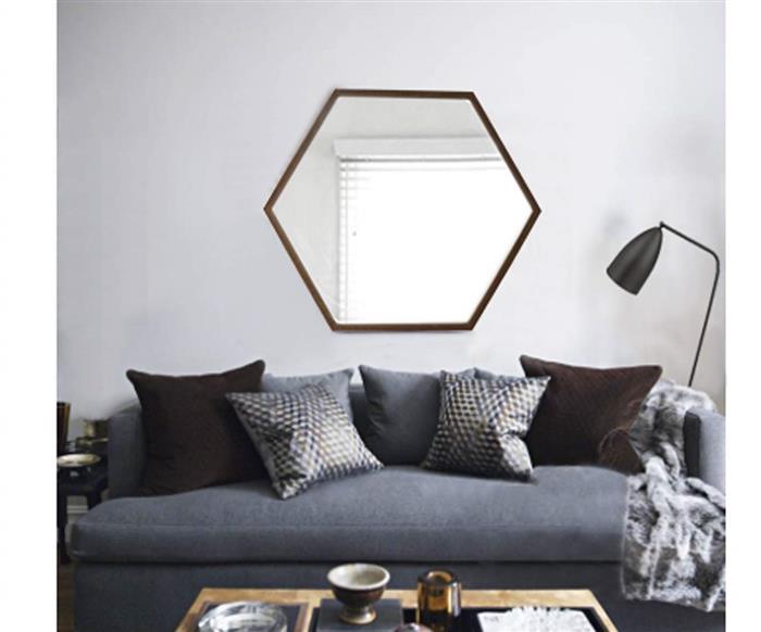 espelho hexagonal madeira 80cm 0950 espelho hexagonal madeira 80cm