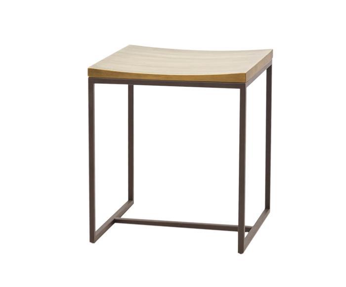 banquinho em metal e madeira maciça mescla 1048 banquinho de metal e madeira