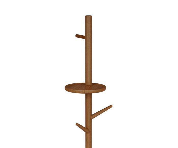 cabideiro em madeira maciça com prateleira soho 1362 cabideiro em madeira maciça com prateleira soho detalhe