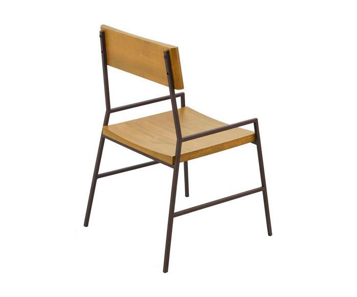 cadeira em madeira maciça e metal mescla 1288 cadeira em metal e madeira